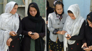 Literacy teacher with her students and their phones, Afghanistan. Credit: UstadMobile, Inc